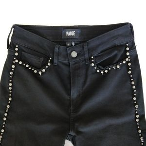 Paige Black Hoxton Ankle Embellished Skinny Jeans